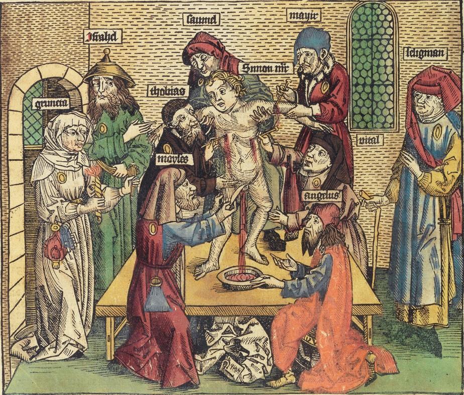 Martyrium des Simon von Trent, Darstellung aus der Nürnberger Weltchronik von Hartmann Schedel.